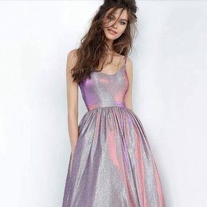 Jovani - JVN2191 Metallic Scoop Neck A-Line Gown